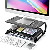 LORYERGO Monitor Stand Riser, 2-Tier Desk Organizer Stand with Metal Vented for Computer, Laptop & Printer, Desktop Stand for Office Accessories & Supplies