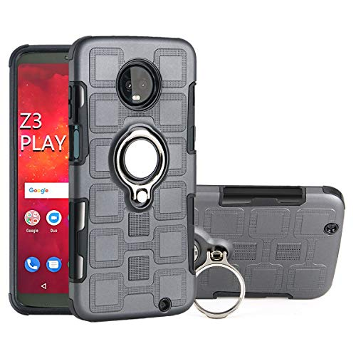 Capa para Moto Z3 Play, Uberant com anel ajustável de 360 graus com suporte magnético para carro, TPU macio e policarbonato rígido 2 em 1, capa de proteção à prova de choque para Motorola Moto Z3 Play 6 polegadas, cinza