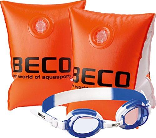 Beco 9703 Schwimmhilfe/Schwimmflügel, Größe 0 für Kinder von 2-6 Jahre/15-30 kg - Set mit Schwimmbrille 100% UV-Schutz und Antibeschlag in der robusten Aufbewahrungsbox