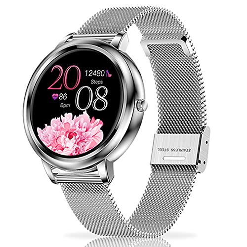 LIYIFANKJ SmartWatch Orologio fitness Donna Full Touch Screen IP67 Tracker Fitness Impermeabile Orologio Sportivo Contapassi Cardiofrequenzimetro Smart Watch Compatibile con iOS Android (Argento)