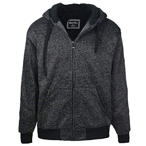 Mens Winter Jackets Zip Front Sherpa Lined Heavyweight Active Thick Long Sleeve Relaxed Fashion Hoodies Charcoal L