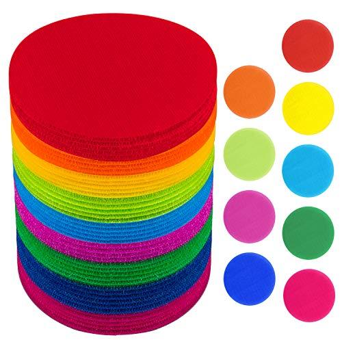 SIQUK 54 Pieces Carpet Spots Markers 5 Inch Carpet Markers Hook and Loop Carpet Spot for Classroom, 9 Colors