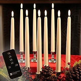 مجموعه ای از 10 عدد شمع مخروطی عاجی LED بدون شعله با فتیله ای سیاه واقع بین با تایمر روزانه ، کنترل از راه دور و 20 باتری قلمی ، جایگزین نیست