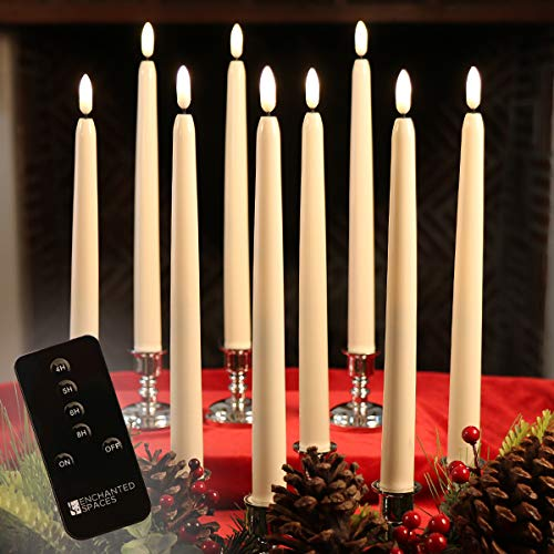 "Set of 10 Flameless LED Ivory 10"" Taper Candles Featuring Realistic Black Wick with Daily Timer, Remote Control and 20 AA Batteries, Stands not Included"