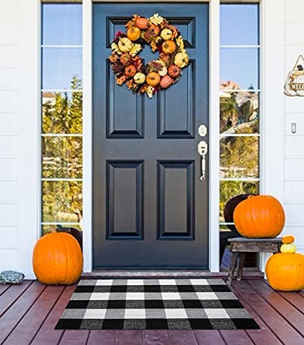 """Buffalo Plaid Outdoor Rug 23.6"""" x 35.4"""", Black and White Outdoor Rug Washable Welcome Fall Door Mat Checkered Rug Doormat Buffalo Check Outdoor Indoor Rug for Front Door, Farmhouse, Entryway Decor"""