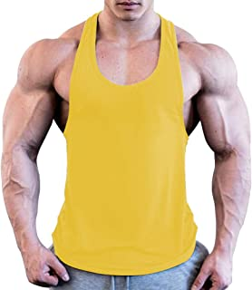 MyoLo Mens Bodybuilding Tank Tops Sports Workout Vest Solid Color Sleeveless Training T-Shirt