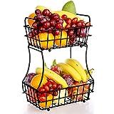 TomCare 2-Tier Fruit Basket Metal Fruit Bowl Bread Baskets Detachable Fruit Holder kitchen Storage...