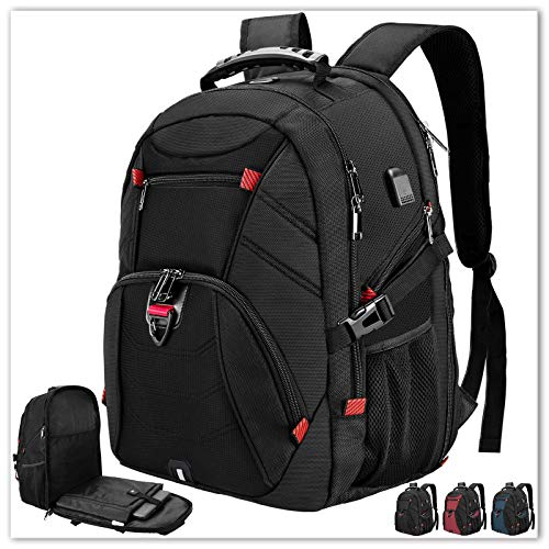 Extra Large Laptop Backpack 17 Inch Travel Waterproof Backpacks Anti Theft College School Business Men Laptops Backpacks with USB Charging Port 17.3 Gaming Computer Backpack for Women Men Black