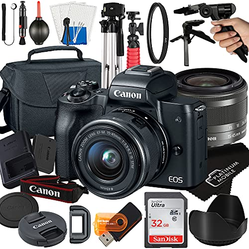 Canon EOS M50 Mirrorless Digital Camera with 15-45mm STM Zoom Lens + Platinum Mobile Accessory Bundle Package Includes:...