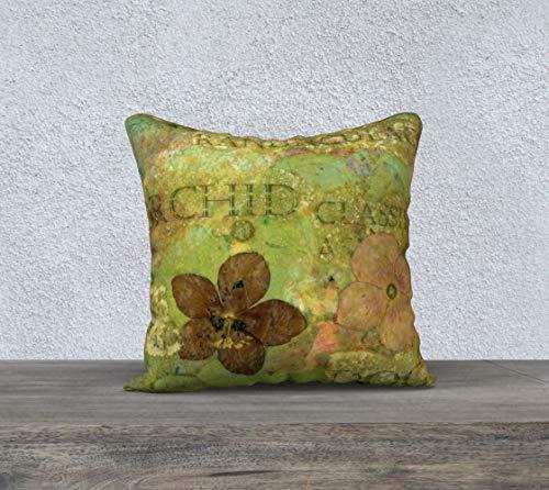 DKISEE Funda de almohada cuadrada de lino y algodón de 60,96 cm, suave funda de cojín con estampado botánico verde