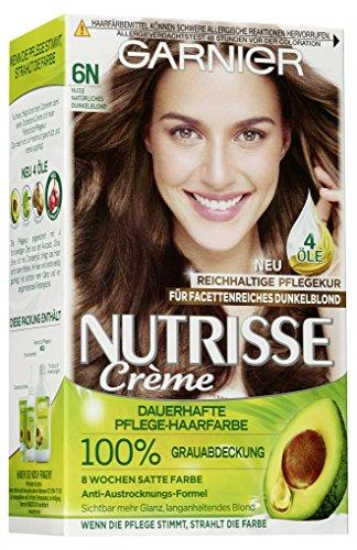 Garnier Nutrisse Creme Coloration Nude Natürliches Dunkelblond 6N / Färbung für Haare für permanente Haarfarbe (mit 1 nährenden Ölen)