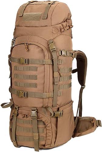 Comhommedo extérieur du sac à dos d'alpinisme sac militaire tactique hommes de prougeection contre la pluie et les femmes kaki - avec baton de randonnée en alliage de titane ultra-léger étirement X2