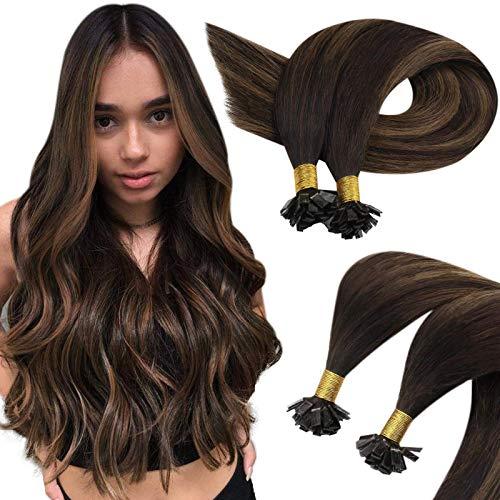 Sunny Nail Tips Human Hair-Darkest Brown Ombre Medium Brown Mixed Brown Real Hair Fusion Extensions U Tip Nail Keratin Tip(22inch,Straight,1g/s,50g)