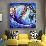 KWzEQ Imprimir en Lienzo Arte de Caballo Azul en la Pared para la Sala de Estar del dormitorio50x50cmPintura sin Marco