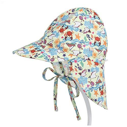 Haptian Zonnehoed, zomer kleinkind kinderen baby UV-bescherming zwemmen strand hoed leuke cartoon bloemenprint instelbare outdoor zonwering met nekklep 2# S