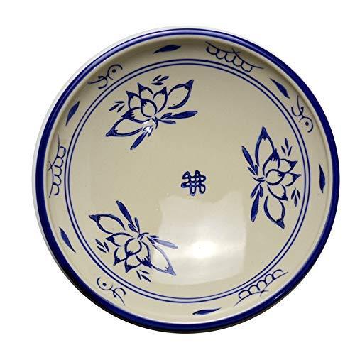 Mzxun Azul y blanco plato hondo de cerámica superficial del plato plato de sopa Placa Placa plato de arroz comercial del hogar retro china vajilla placa azul borde 8 pulgadas