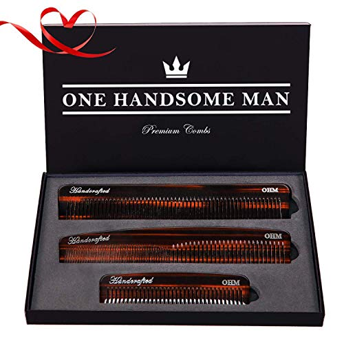3 Set Mens Comb by One Handsome Man - Anti-Static Hair Comb, Beard Comb, and Mustache Combs For Men with Leather Case and Gift Box - Very Sexy For Him or Regalos Para Hombre