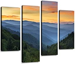 Sunrise Landscape Great Smoky Mountains National Park Gatlinburg TN Canvas Wall Art Hanging Paintings Modern Artwork Abstract Picture Prints Home Decoration Gift Unique Designed Framed 4 Panel