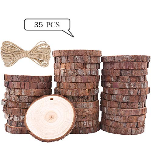 Wood Slices TICIOSH Natural Wood Slices 2.8-3.1 inches 35 Pcs Drilled Hole Unfinished Log Wooden Circles for DIY Crafts Wedding Decorations Christmas Ornaments