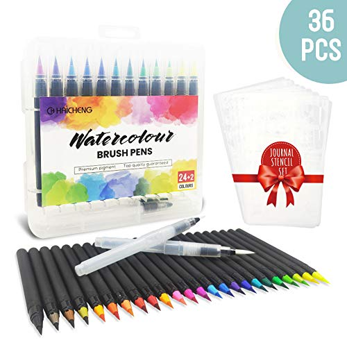 CH HAICHENG Juego de 36 Rotuladores Acuarelables y Journal Plantillas, Incluye 24 Rotuladores Pincel 2 Pincel de Agua 10 Journal Plantillas para Colorear, Diario, Libros para Colorear, Manga