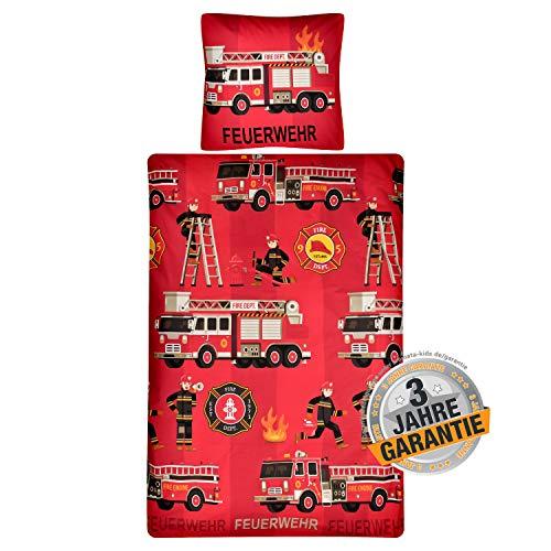 Aminata Kids Bettwäsche 135x200 Baumwolle rot Kinder Junge Feuerwehr-Auto-Motiv rot - Jungen, mit Reißverschluss, Kinder-Bettwäsche-Set mit Feuerwehr-Auto - Kinderbettwäsche Polizei USA, Amerika