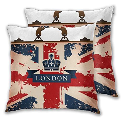 BROWCIN 2pz Federa per Cuscini Valigia da Viaggio Vintage con Nastro Bandiera Britannica Londra e Immagine della Corona Cuscino Copertura Decorazione Domestica Morbido 45cm x 45cm