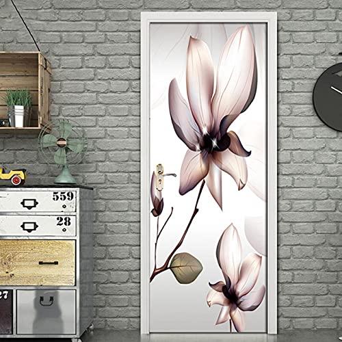 Adhesivo decorativo puerta con diseño de flores transparentes con diseño de flores 3D para sala de estar dormitorio para el hogar papel pintado autoadhesivo de vinilo adhesivo mural (77cm x 200cm)