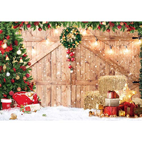 Haboke 7x5ft Soft Fabric Rustic Christmas Barn Wood Door Backdrop for Photography Xmas Tree Snow Gift Wall Floor Party Photo Background Family Holiday Supplies Banner Decorations Studio Prop Pictures