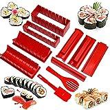 10 Piezas Kit para Hacer Sushi, Kit de Fabricación de Sushi, Sushi Maker Kit, Sushi Kit Completo, Moldes para Sushi, con 8 Formas Diferentes Forma para Amantes del Sushi, Principiantes, Niños (Rojo)