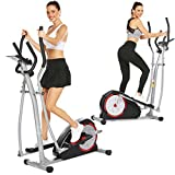 Elliptical Machine Magnetic Elliptical Training Machines with LCD Monitor Smooth Quiet Driven Pulse Rate Grips Elliptical Exercise Machine for Home Gym Office Workout (Red)