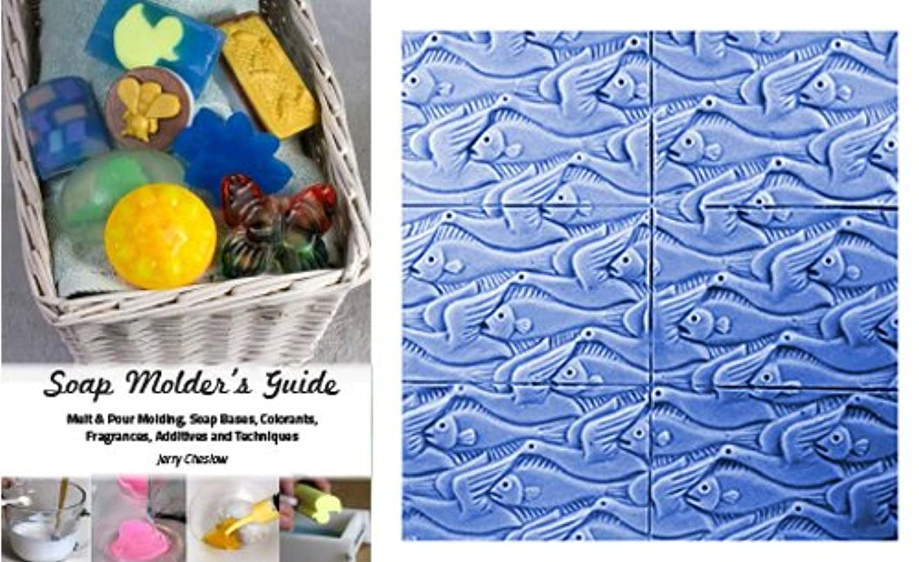 CybrTrayd Birds and Fish Fins and Feathers Mold in Sealed Poly Bag, with Richly Illustrated 44-Page Soap Molder's Guide
