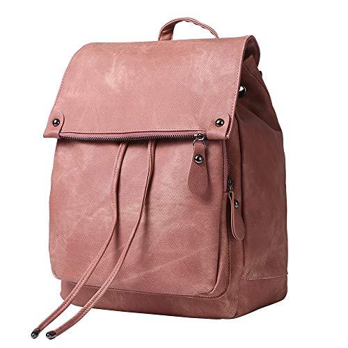 Women Backpack Purse Waterproof Anti-theft Lightweight PU Leather Nylon Shoulder Bag Travel Backpack Ladies (Pink)