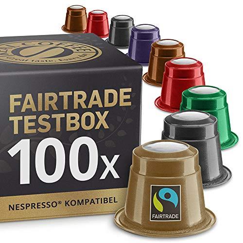 Fairtrade Testbox: 100 Nespresso kompatible Kapseln. Testgewinner.
