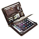 """手作りレトロ本物牛革レザー組み合わせフォルダー ジッパー iPad Pro 9.7"""" / 10.5"""" / 11""""に適しています A4サイズ パドフォリオケース、ビジネスマネージャー,A4フォルダー、ブラウン"""