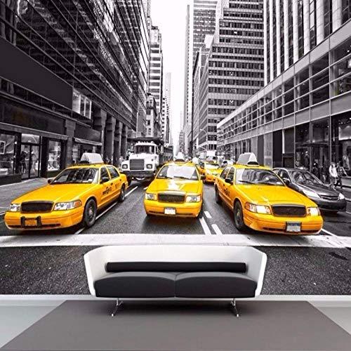 Fotobehang - Grijs Stad Geel Taxi Non-Woven Muurschildering voor Premium Art Print Poster Picture Design Moderne Slaapkamer Woonkamer Woonkamer Woondecoratie 250x175 cm/98.42x68.89 inch - 5 Strips