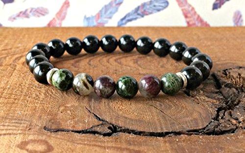 Black Tourmaline & Multicoloured Gem Tourmaline Bracelet, Elbaite Jewelry, Wrist Mala Beads, Healing Crystals, Protection - Creativity 6mm