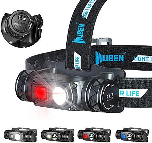 WUBEN Stirnlampe 1200 Lumen USB Wiederaufladbare LED Stirnlampe 10 Modi, Superheller Stirnlampen Wasserdichter IP68, Mini LED Stirnlampen Joggen, Geeignet für Camping, Jagen [Energieklasse A+++]
