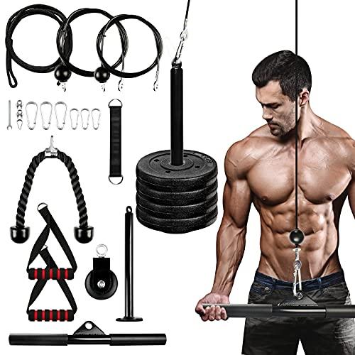 Opaltool Sistema de doble polea para ejercicio en casa, máquina de extracción LAT para tríceps y moldear el cuerpo, equipo de entrenamiento de fuerza con 2 agarres y 2 asas largas