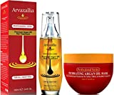 Hydrating Argan Oil Hair Mask and Premium Argan Oil Hair Treatment Products Bundle - Hydration and Repair for Dry or Damaged Hair by Arvazallia