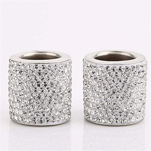 Cristal Universal Rhinestone Asiento de Coche Cuello de reposacabezas Collares Decoración Charms Diamond Bling Coche Interior Accesorios (Color Name : White)