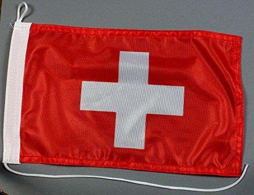 Buddel-Bini Bootsflagge Schweiz 20 x 30 cm Schweizerfahne in Profiqualität Flagge Motorradflagge