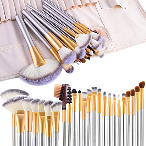 Make up Brushes VANDER LIFE 24pcs Premium Cosmetic Makeup Brush Set for Foundation Blending Blush Concealer Eye Shadow CrueltyFree Synthetic Fiber Bristles Travel Makeup bag Included Champagne