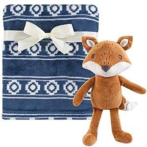 Hudson Baby Unisex Baby Plush Blanket with Toy, Modern Fox, One Size