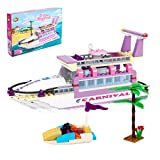 Milestar Girl Building Blocks Toys 318 PCS Beautiful Pink Bricks Excellent Gift Luxury Yacht Set for Girls Boys 6-12 and up