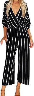 Women V-Neck Loose Jumpsuit Casual Vertical Stripes Romper Trousers Three Quarter Sleeve Wide Leg Playsuit