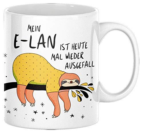 TassenSachen Lustige Faultier Tasse Mein E-Lan ist heute mal wieder ausgefallen - Kaffeetasse Teetasse aus Keramik in Weiß - ca. 330 ml spülmaschinengeeignet - für das Büro zuhause und als Geschenk
