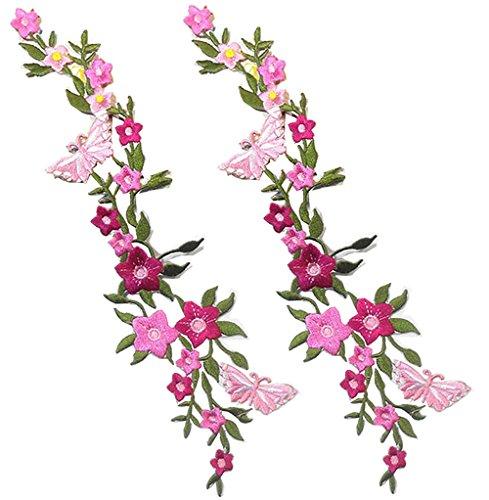 Parches bordados 2 UNIDS Nuevas Mariposas Flor Apliques Bordado Tela Pasta Blossom Flower Applique Ropa parche