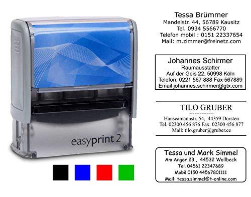 Adress-Stempel Textstempel easyprint 2 - 47x18 mm - 5 Zeilen (Abdruckfarbe schwarz) Wunschtext Lieferzeit 24-48 h