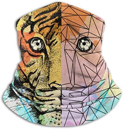 Fleece-Nackenwärmer, Multifunktions-Hipster Animal Realistic Polygonal Tiger On Scarf und Vollmaske oder Hut, Nackenschutz, Nackenkappe, Skimaske, Half
