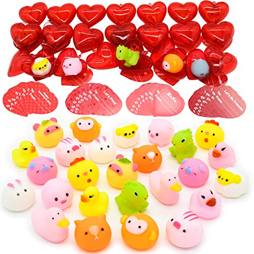 28 Packs Kids Valentines Party Favors Set includes 28 Bath Toy Filled Hearts and Valentine's Day Cards for Classroom Exchange, Floating Rubber Bath Toys for Kids Valentine Gift Exchange & Game Prizes